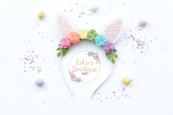 Bunny Floral Crown- Easter Floral Crown Headband w/ Pastel Rainbow Felt Flowers & Bunny Ears