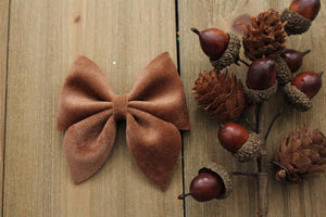 Teddy- Velvet Hair Bows-Various Sizes- Fall Hair Bows