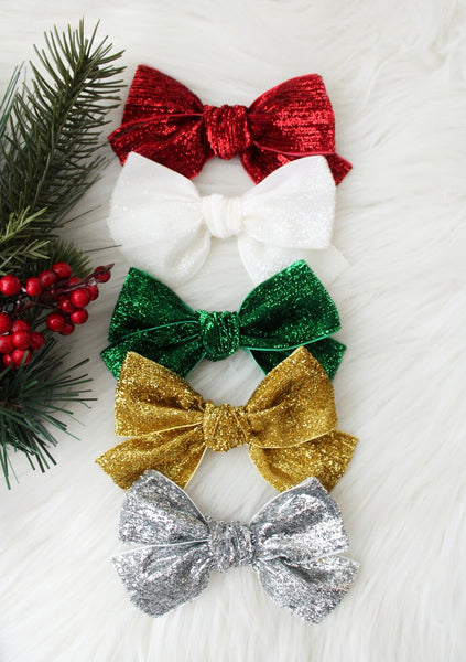 Hand Tied Sparkle Tinsel Ribbon Bows- 3 Inches-Holiday Bows