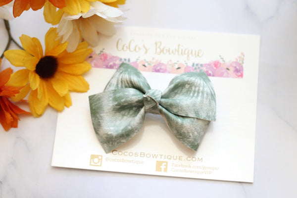 Sage Green Tie-Dye- Bella-style Bow- 2 sizes