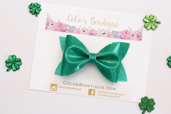 Green Shimmer Patent Leather - Green Faux Leather Hair Bow- Various Sizes
