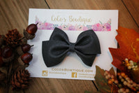 Midnight- Black Glitter Suede- Faux Suede Hair Bow-Various aSizes