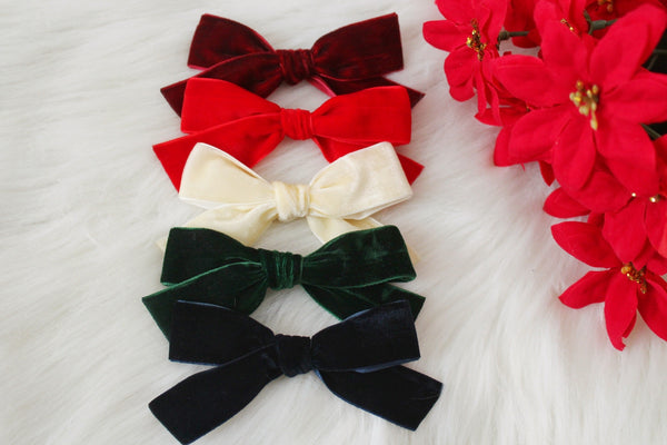 Hand-tied velvet Ribbon Bows- 4 Inches-Holiday Bows