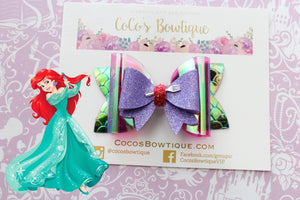 Ariel- Princess-Inspired Faux Leather/Glitter Hair Bow w/ Embellishment- Disney Bows