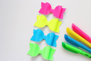 Green Highlighter- Neon Patent Leather hair bow- Various Sizes