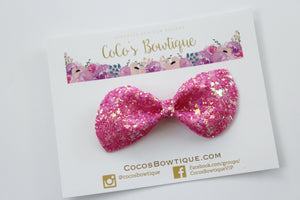 Razzmatazz - Neon Glitter hair bow- Various Sizes