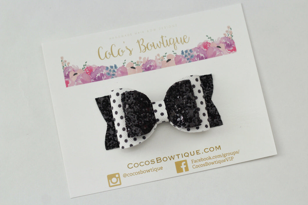 White & Black Polka Dot and Glitter Double Bow- 3 sizes