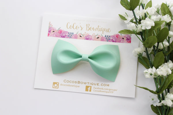 Mint Faux Leather Bow Tie