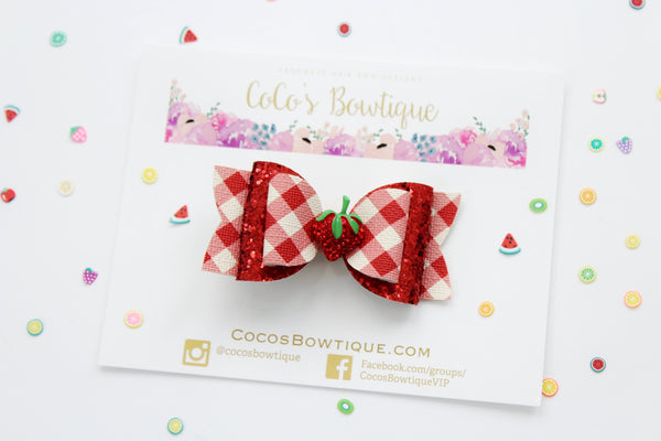 Strawberry Picking- Red gingham faux leather/glitter Double Bow w/ rhinestone strawberry - Ready to Ship