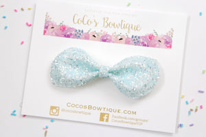 Powder Blue - Diamond Chunky Glitter hair bow- Various Sizes
