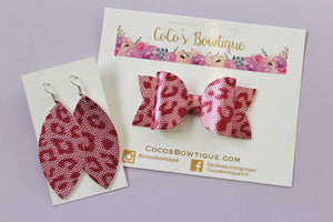 Pink Leopard- Petal Earrings- embossed faux leather Handmade Earrings- Nickel Free