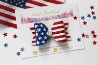 Star Spangled- Chunky glitter American flag Bow- Various Sizes