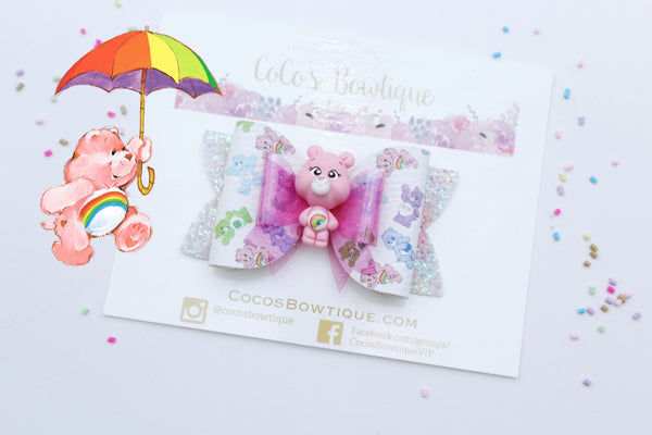 Cheer Bear- Care Bears-Inspired Clay Center Bow- Limited Edition