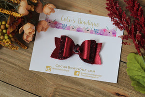Garnet- Precious Gems- Metallic Faux leather/Glitter w/ matching jewel- Fall hair bows-2 sizes