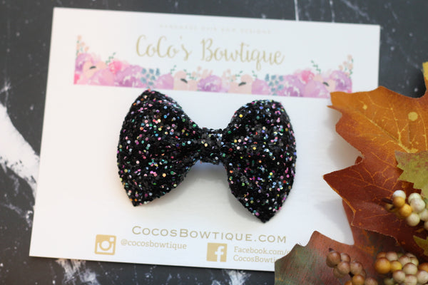 City Lights- iridescent Chunky Glitter Bow- - Various Sizes