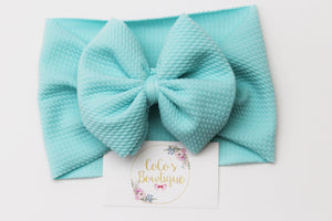 Aqua- Stretchy Liverpool/Bullet Bow Wrap- Choose Size