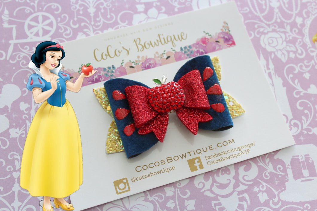 Snow White- Princess-Inspired Faux Leather/Glitter Hair Bow w/ Embellishment- Disney Bows