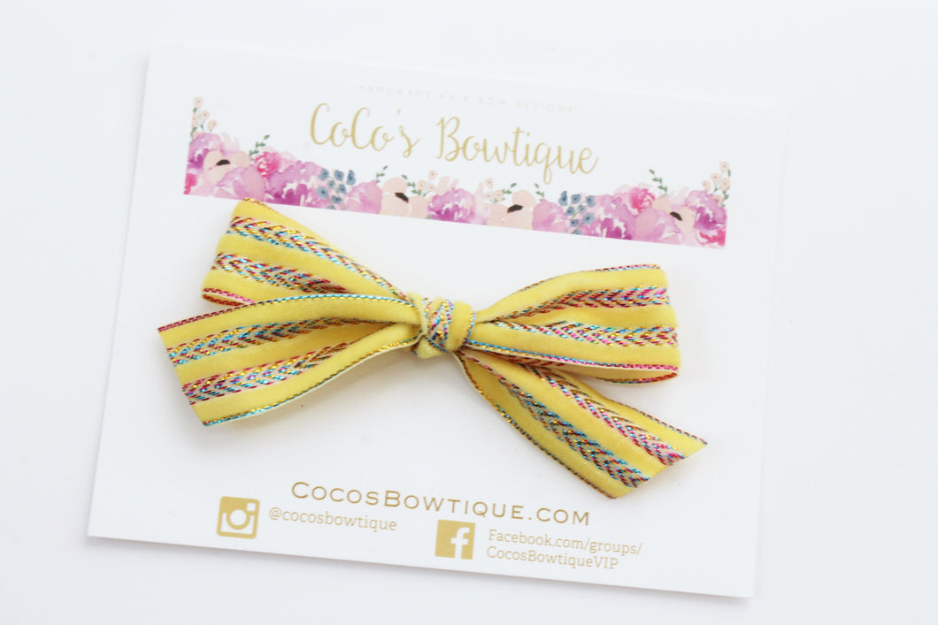 Yellow- Hand Tied Velvet bow w/ metallic design- Summer Boho Bows- One Size