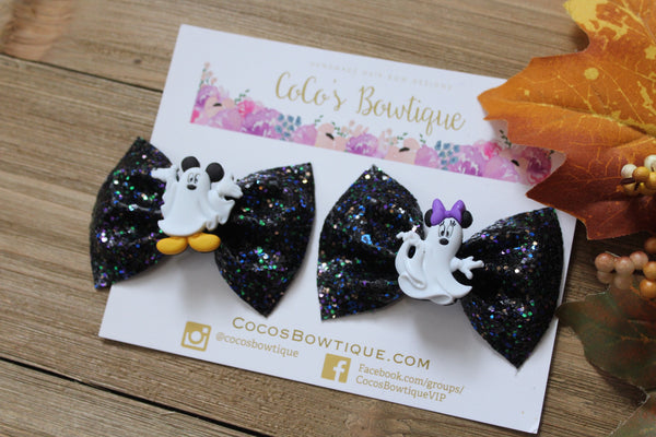 Minnie & Mickey Spooky Ghosts-Halloween Pigtail Set- Halloween bows