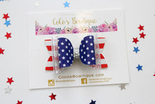 Stars & Stripes- Faux Leather Double Bow- 3 sizes