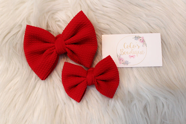 Red- Stretchy Bullet fabric Bows- Choose Size