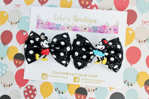Vintage Mickey & Minnie Pigtail Set- Set of (2) Glitter Bows on clips w/ Character Embellishments- Steamboat Willy/Disney- Inspired