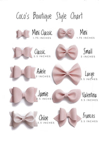 School Supplies- Faux Leather/Glitter hair bow- Various Sizes
