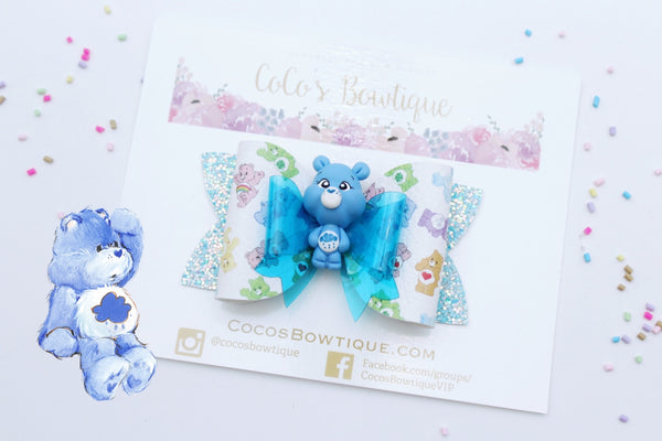 Grumpy Bear- Care Bears-Inspired Clay Center Bow- Limited Edition