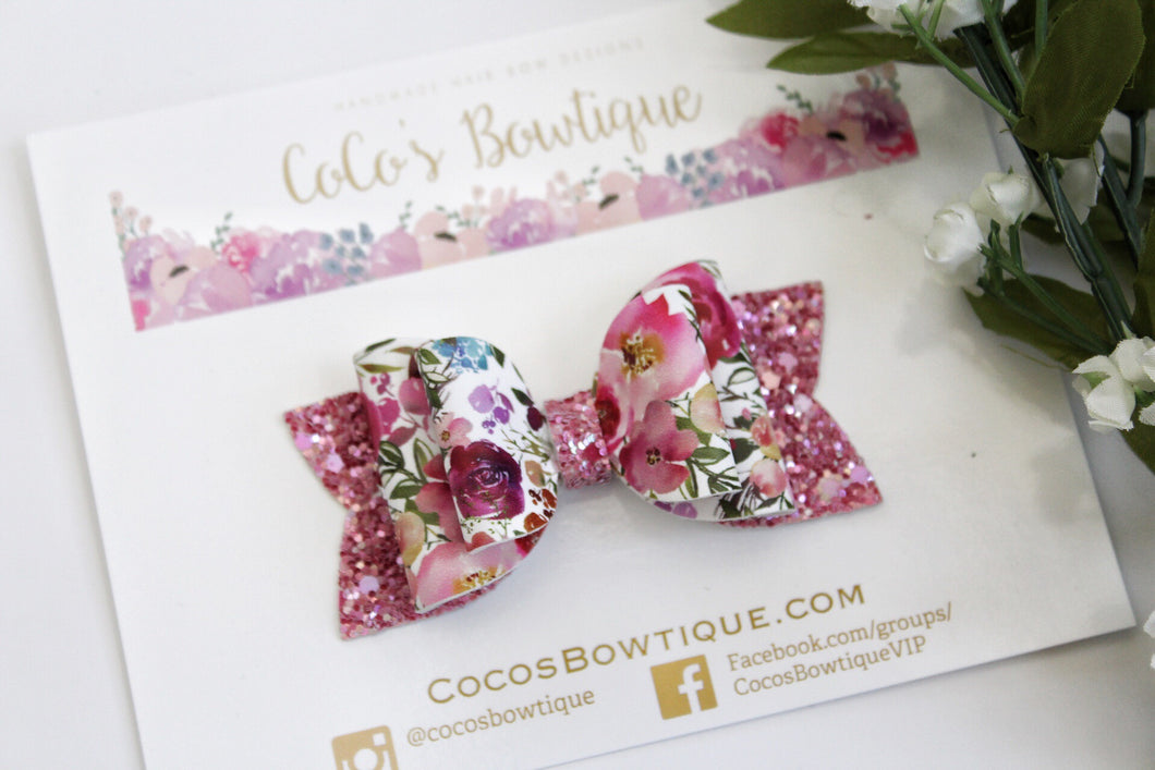 Spring Bouquet- Faux leather/glitter Double Bow- 3 sizes double bow