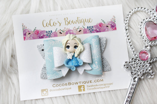Queen Elsa- Disney Princess-Inspired Clay Center Bow- one size