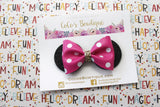 Minnie Mouse Ears Bow- Dark Pink & White Polka Dot faux leather bow- Disney-Inspired