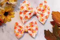Candy Corn- Stretchy Liverpool/Bullet Bows- Choose Size