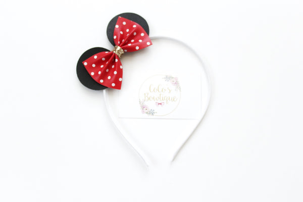 Minnie Ears- Red Polka Dot Faux leather Pinch Bow-Minnie Mouse-Inspired Headband- Satin-lined Metal headband