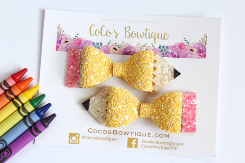 Pencil Bows- Chunky Glitter Pencil-Shaped Hair Bows- Available as Single Bow or Pigtail Set