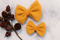 Mustard- Stretchy Liverpool/Bullet Bows- Choose Size