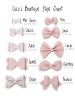 Pink Rose- Fine Glitter Bow- - Various Sizes