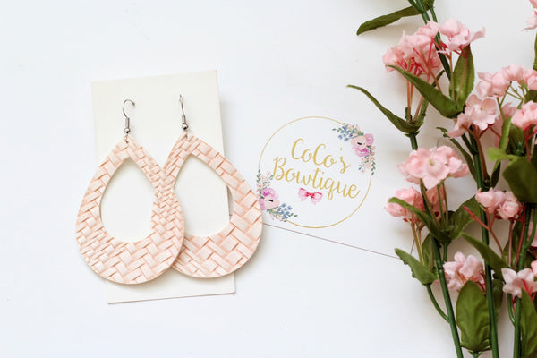 Blush- Faux Leather Basket Weave Hoops- Handmade Earrings- Nickel Free