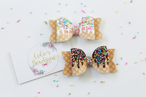 Chocolate Fudge Waffle Cone- Hand Painted w/ clay Sprinkles- Ice Cream Inspired Faux Leather/Glitter hair bow- Various Sizes