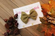 Olive- Green Glitter Suede- Faux Suede Hair Bow-Various aSizes