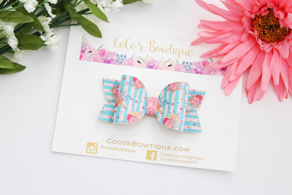 Striped Floral Bow- Faux Leather/Glitter hair bow- Various Sizes