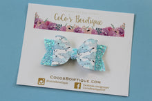 Shark Week- Faux Leather/Glitter hair bow- Various Sizes