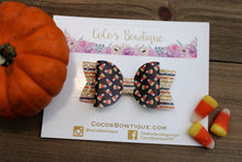 Candy Corn Faux Leather/Glitter Hair Bow-Halloween Hair Bows- Various Sizes