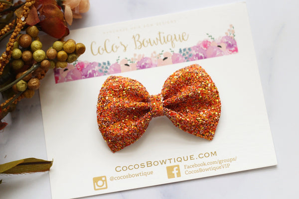 Cozy Fall- Orange/Gold Chunky Glitter Bow- - Various Sizes