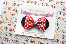 Minnie Mouse Ears Bow- Red & White Polka Dot Faux leather bow- Disney-Inspired