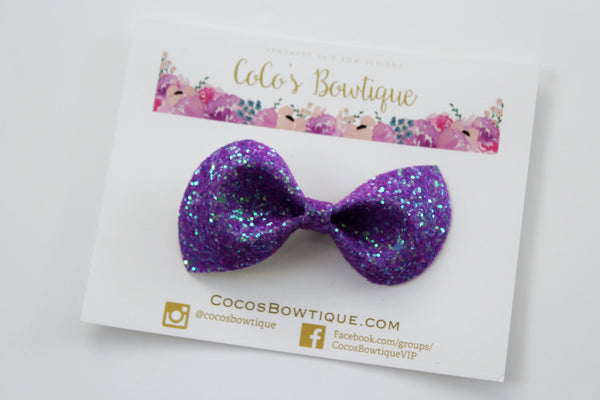 Poison Berry- Neon Glitter hair bow- Various Sizes