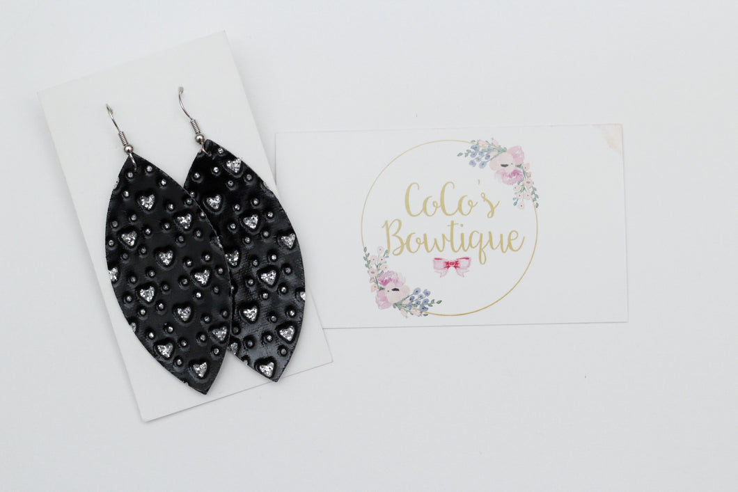 Black Mini Hearts Faux Leather Petal Earrings