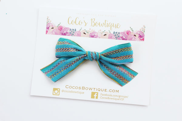 Turquoise- Hand Tied Velvet bow w/ metallic design- Summer Boho Bows- One Size