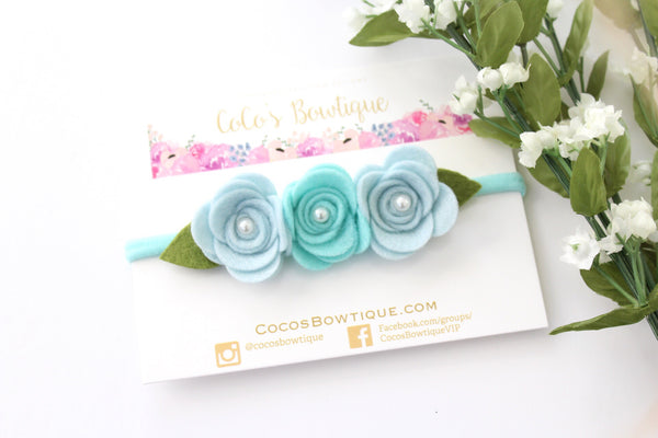 Blue Pearl Rose Trio- Felted Flowers with pearl center-Easter headband