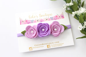 Lavender Pearl Rose Trio- Felted Flowers with pearl center-Easter headband