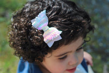 Cupid's Love - Metallic Faux Leather/ Glitter Angel Wings Hair Bow w/ Heart Gem Center- Valentine's Day Bow
